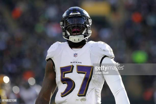 J Mosley of the Baltimore Ravens reacts in the second quarter against the Green Bay Packers at Lambeau Field on November 19 2017 in Milwaukee...