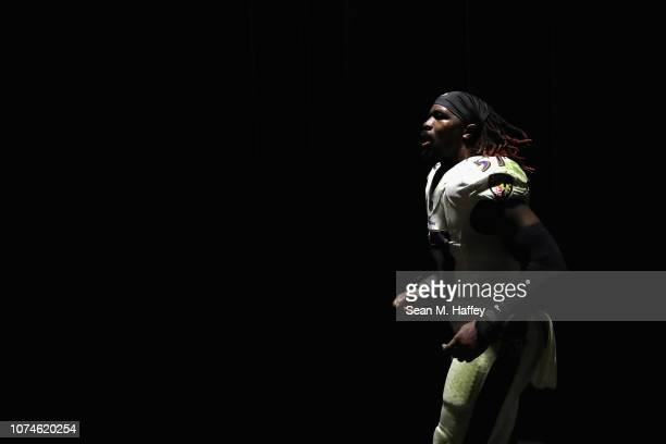 J Mosley of the Baltimore Ravens runs off the field after defeating the Los Angeles Chargers 2210 in during a game at StubHub Center on December 22...