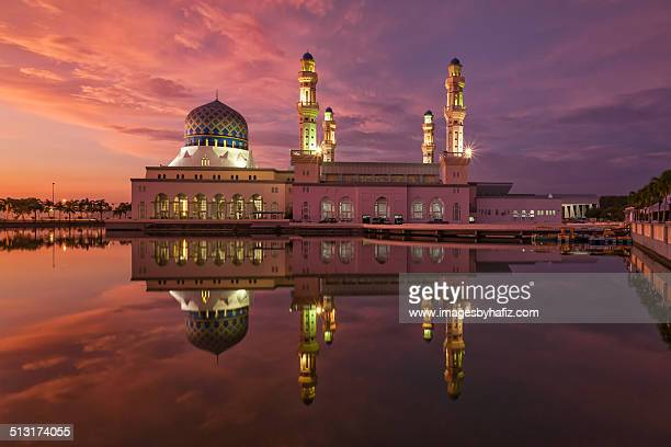 A Mosque and its reflection during blue hour