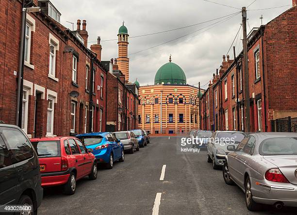 Mosque and street in Hyde Park area of Leeds