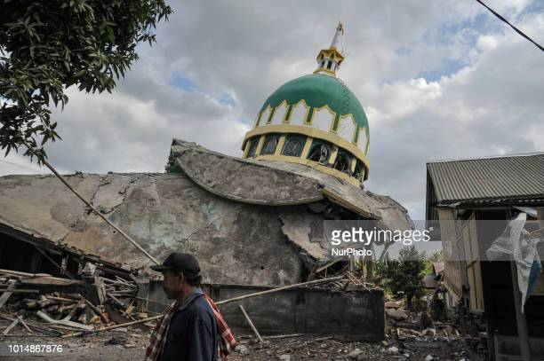 A Mosque damaged by an earthquake at Bayan in Lombok Indonesia on August 11 2018 The powerful earthquake hit the Indonesian island of Lombok several...