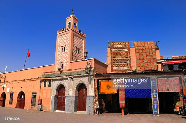 mosque, djemaa el fna, marrakech, morocco - djemma el fna square stock photos and pictures