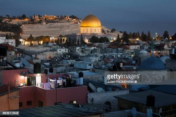 mosquée du dôme du rocher, jérusalem, israël - jerusalem old city stock pictures, royalty-free photos & images
