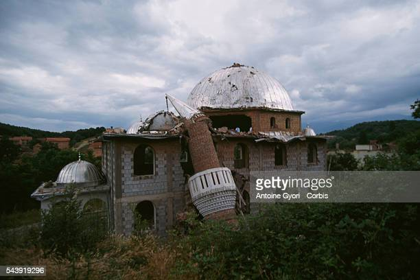 Mosque in Pec, Kosovo, has been destroyed during a battle with the Serbian militia during the Yugoslavian Civil War. In the 1990s, the...