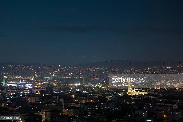 A mosque is pictured at night on November 14 2016 in Ankara Turkey