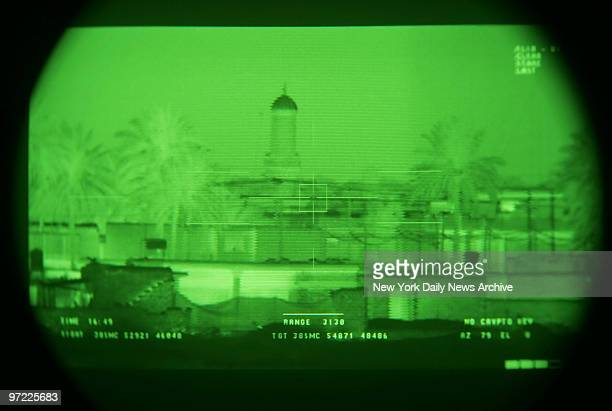 A mosque is seen through a device called a Long Range Acquisitional Scout Sight System The patrol was looking for possible insurgent activity in an...