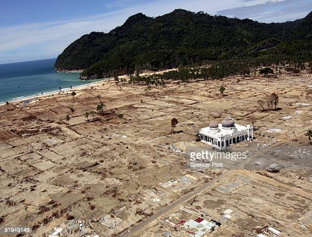 A mosque is the only building left standing on a strip of coast January 13 2005 in Aceh Indonesia Citing safety concerns the Indonesian government...