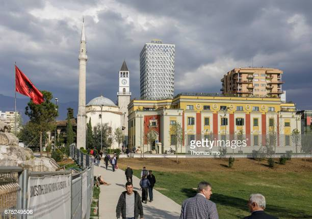 Mosque next to the Hotel Plaza in Tirana Albania on March 27 2017 in Tirana Albania