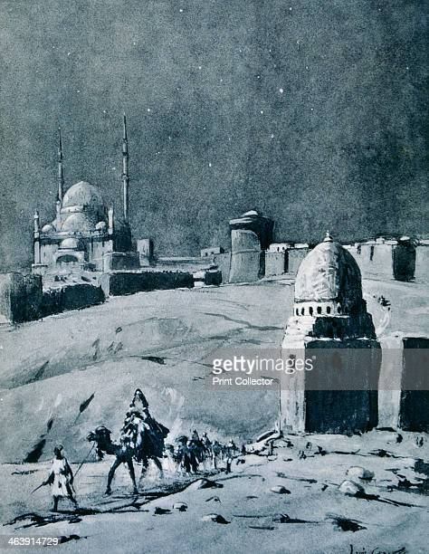 Mosque of Muhammad Ali under moonlight Cairo Egypt 1928 View showing the citadel and the Mosque built by Muhammad Ali Ottoman Viceroy of Egypt...