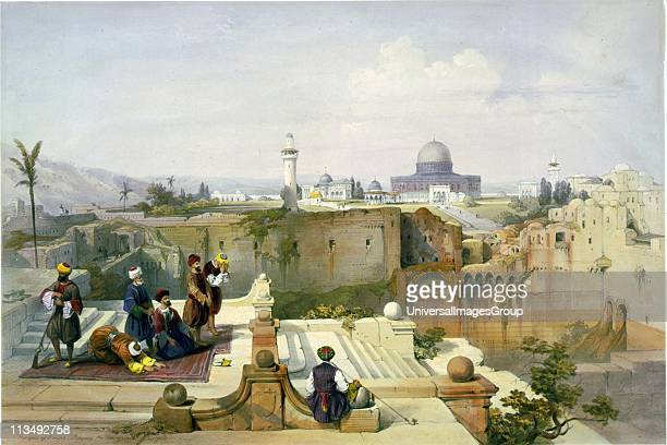 Mosque of Omar shewing the site of the Temple' c1840 After David Roberts Scottish Artist Muslim men at prayer on prayer rugs guarded by man with gun...