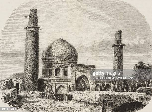 Mosque of the Shah Mashhad Iran drawing by Alexandre de Bar from Narrative of a Journey into Khorasan by N de Khanikoff illustration from Il Giro del...