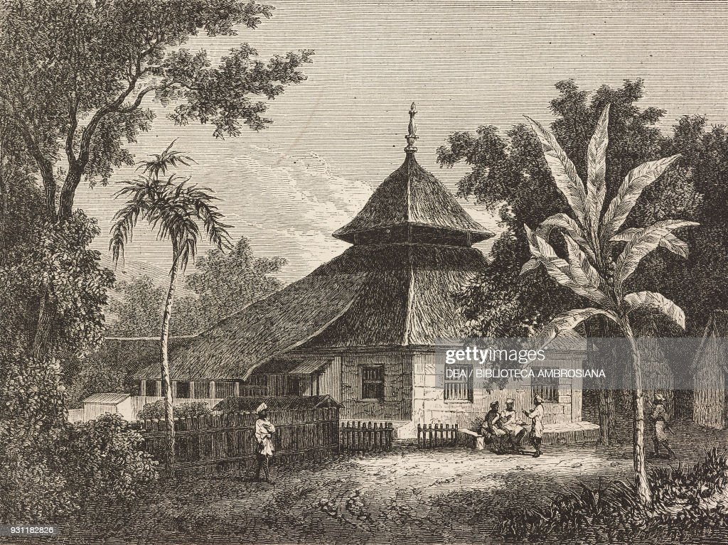 Mosque on Ambon island, drawing by Sorrieu : News Photo