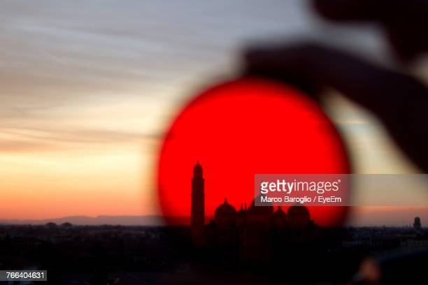 Mosque Seen Through Crystal Ball During Sunset