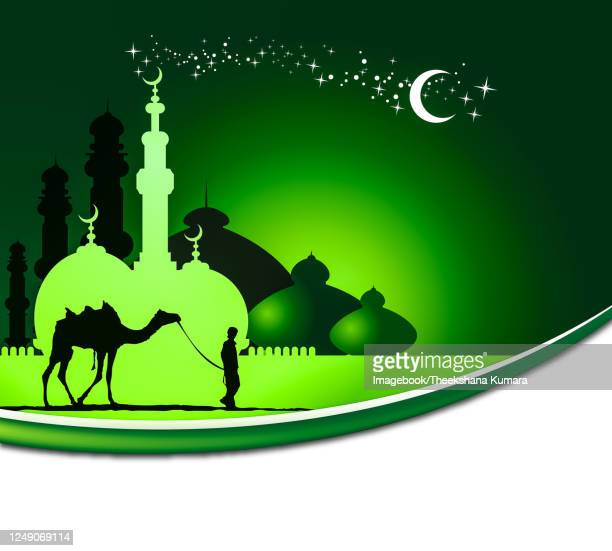 mosque silhouette with crescent moon and star background - eid ul fitr illustrations stock pictures, royalty-free photos & images