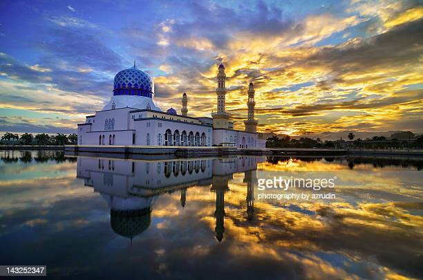 mosque with burning sky - kota kinabalu stock pictures, royalty-free photos & images