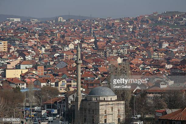 Mosques dot the cityscape in this general view of the city center on March 19 2016 in Pristina Kosovo Kosovo following the Kosovo War of 1999 and its...