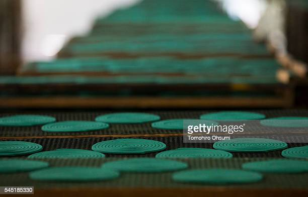 Mosquito coils are dried in a drying room at the Kishu Factory of Dainihon Jochugiku Co Ltd on July 6 2016 in Arita Japan Japanese insect repellent...