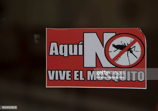 Mosquito do not live here written on poster in Spanish The posters are part of the steps taken to control the transmission of mosquito borne diseases...