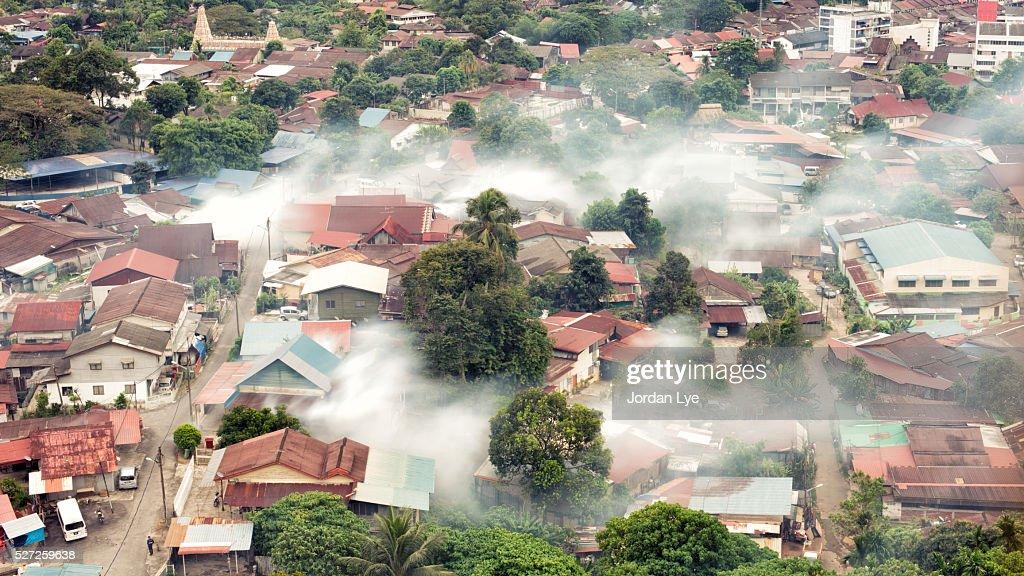 Mosquito Fogging aerial view : Stock Photo