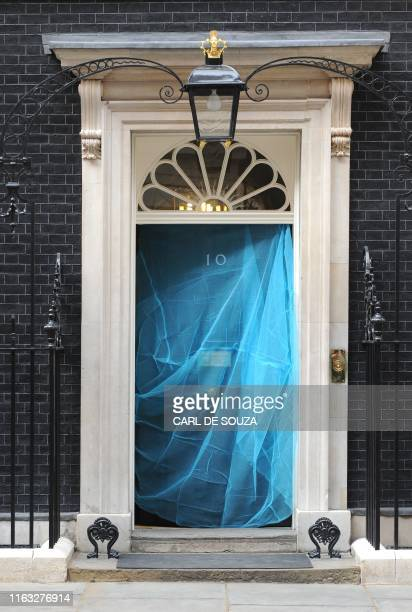 Mosquito net is pictured on the door of 10 Downing Street, in London, on April 20, 2009. A mosquito net was placed over the door of number 10 as part...