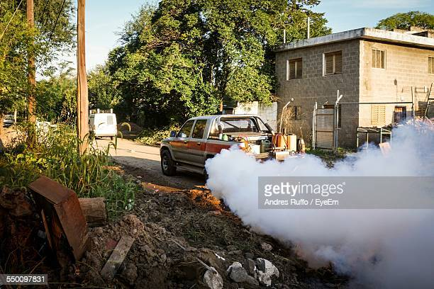 Mosquito Spray Truck On Road