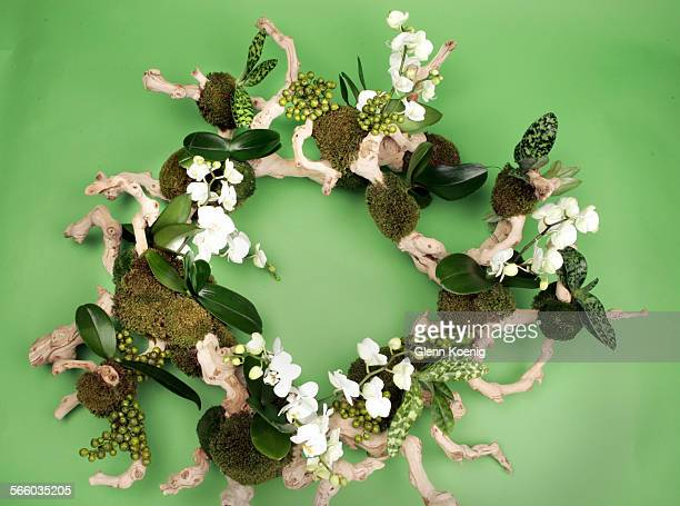 Moss and grape vine leaf by Mark's garden. Six top floral designers create holiday wreaths with ideas for readers. This photo was taken at the Los...