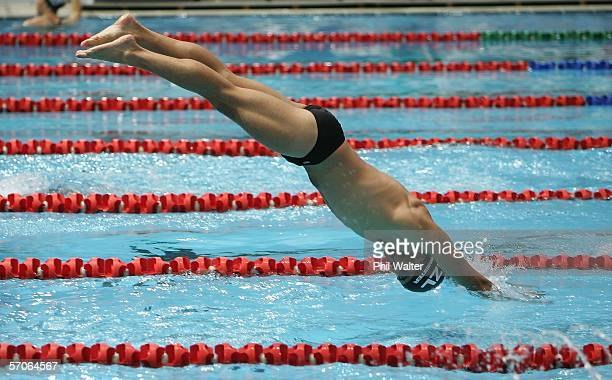 Moss Burmester of the New Zealand swimming team dives into the pool during their training session at the Melbourne Sports and Aquatic Centre March 13...