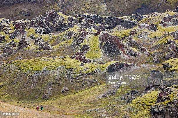 moss covered mountains, landmannalaugar, southern highlands, iceland - peter adams stock pictures, royalty-free photos & images
