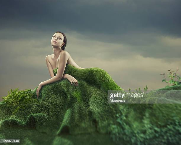 moss dress - green dress stock pictures, royalty-free photos & images
