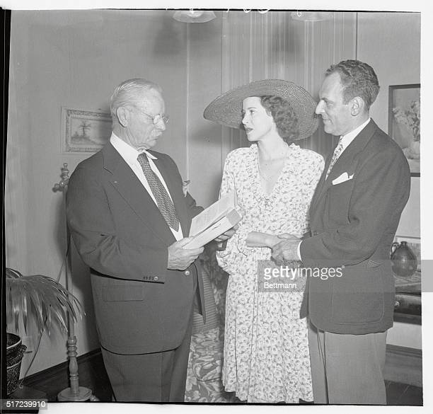 Moss Hart and Kitty Carlisle are shown being wed by a Justice of the Peace in New Hope PA