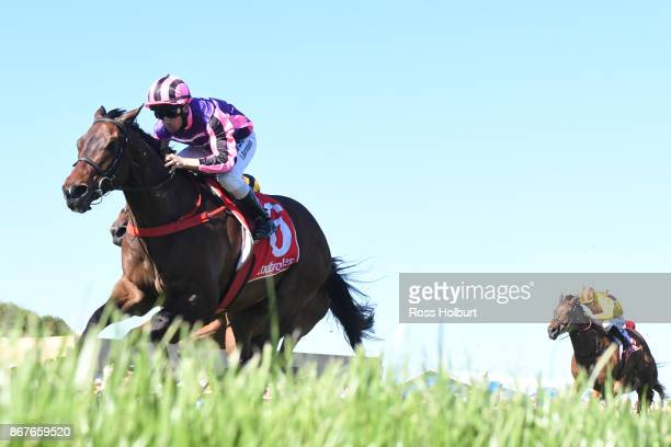 Moss 'n' Dale ridden by Anthony Darmanin wins the Ladbrokes Sale Cup at Sale Racecourse on October 29 2017 in Sale Australia