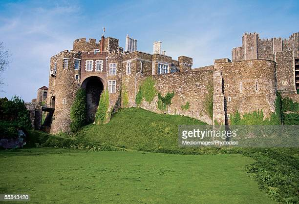 moss on the wall of dover castle, dover, kent, england - dover england stock pictures, royalty-free photos & images