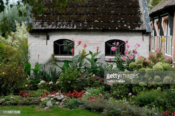 Mosses cover a roof of a small building standing next to a garden along a canal on September 6 at Giethoorn town in the province of Overijssel,...