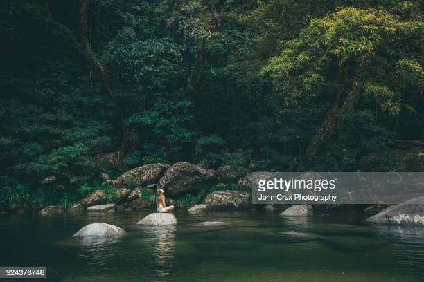 mossman gorge girl tourist - cairns stock pictures, royalty-free photos & images