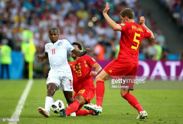 Mossua Dembele and Jan Vertonghen of Belgium challenge Armando Cooper of Panama during the 2018 FIFA World Cup Russia group G match between Belgium...