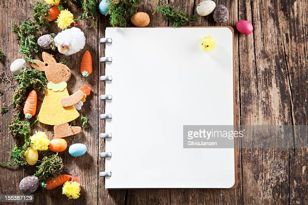 mossy easter decotation and notebook