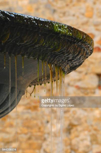 mossy fountain - sarlat stock photos and pictures