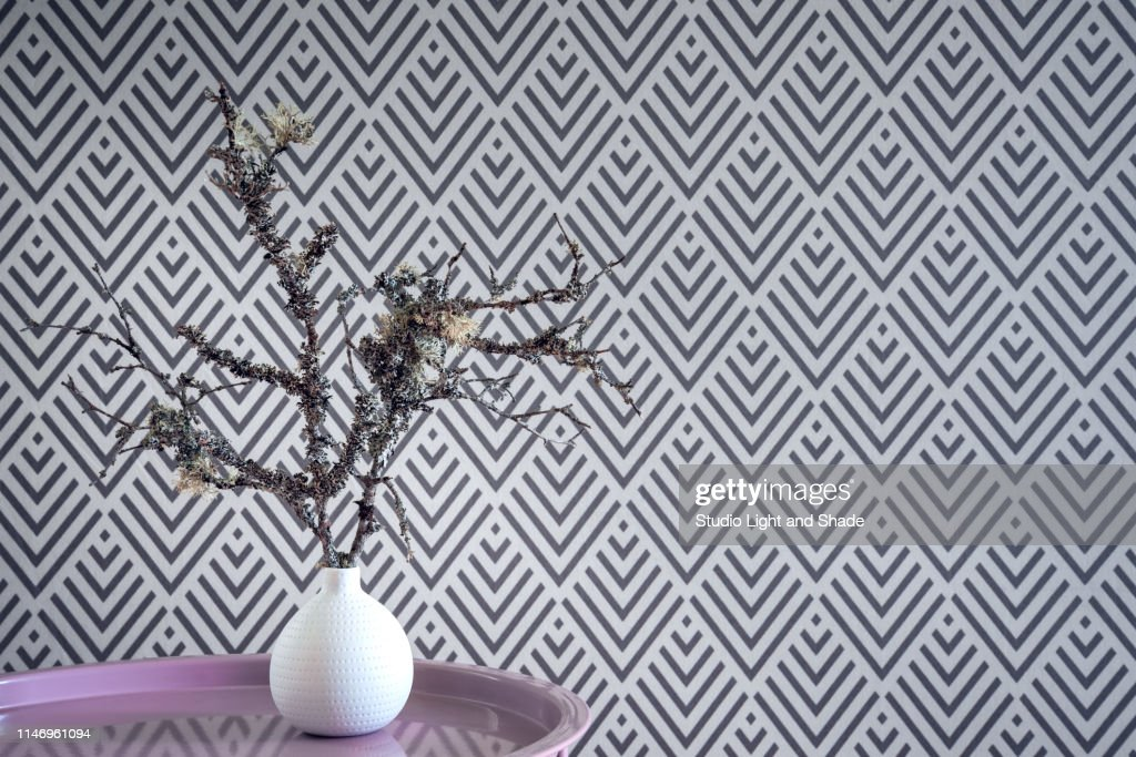 Mossy twigs in a vase on geometric wallpaper background : Stock Photo
