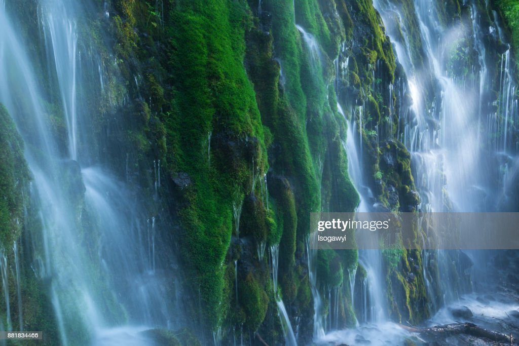 Mossy waterfalls with sunlight : ストックフォト