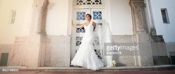 most beautiful bride infont her house waiting for groom - wedding ceremony stock pictures, royalty-free photos & images