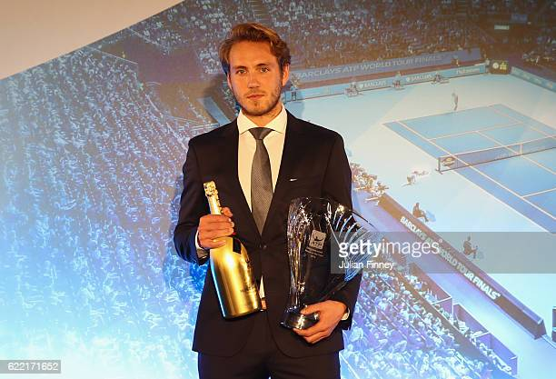 Most Improved Player of the Year is Lucas Pouille of France at the Cutty Sark on November 10 2016 in London England