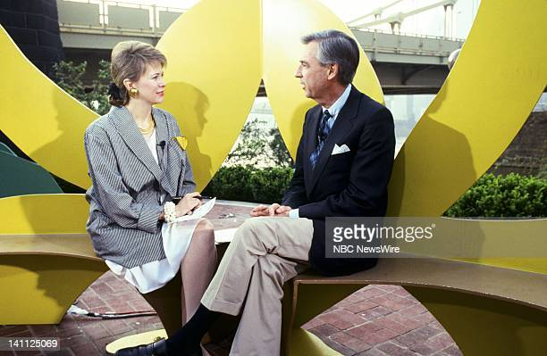 TODAY 'Most Livable Cities Tour 1987' Pictured NBC News' Jane Pauley children's tv host Fred Rogers on the North Shore in Pittsburgh Pennsylvania on...