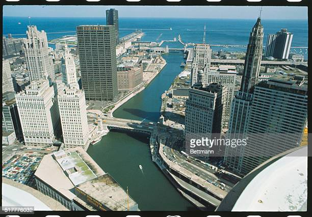 Most of Chicago's oldest newest and biggest buildings can be found just north of the Chicago River The ornately angled Wrigley Building seems adrift...