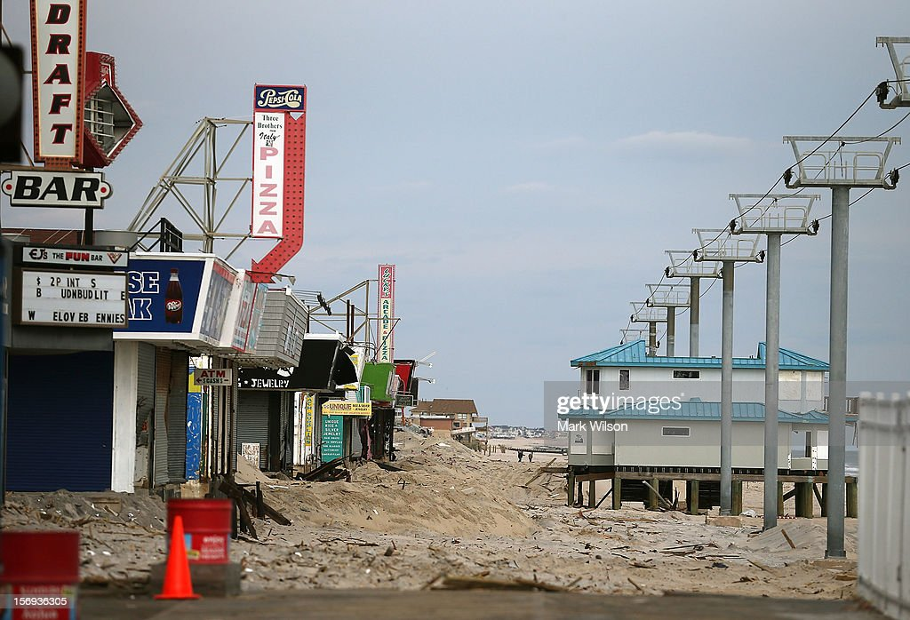 Most of the board walk that was damaged by Superstorm Sandy has been removed on November 25, 2012 in Seaside Heights, New Jersey. New Jersey Gov. Christie estimated that Superstorm Sandy cost New Jersey $29.4 billion in damage and economic losses.