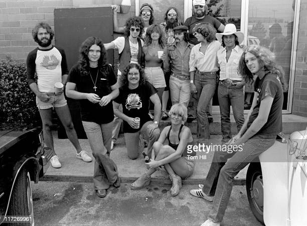 Most of the group assembled for a photo in front of Studio I Included in the photo are Lenny LeBlanc Gary Rossington Billy Powell Jimmy Hall Artimus...