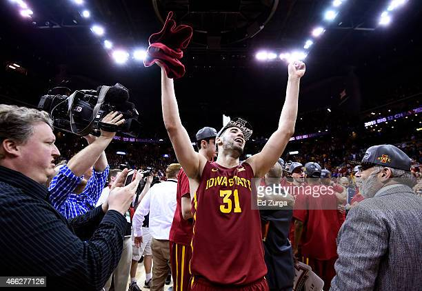Most outstanding player Georges Niang of the Iowa State Cyclones celebrates after their 70 to 66 victory over the Kansas Jayhawks during the...