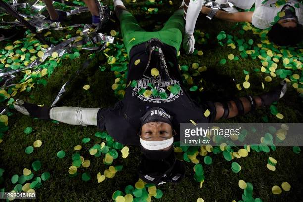 Most valuable playuer of the game, Kayvon Thibodeaux of the Oregon Ducks, celebrates a 31-24 win over the USC Trojans during the PAC 12 2020 Football...