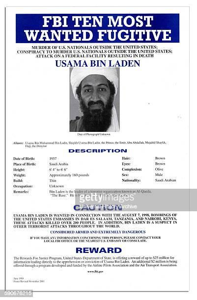 FBI Most Wanted poster of Osama Bin Laden the Al Qaida terrorist group leader 2001