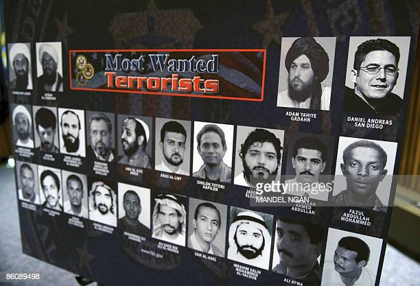 A FBI most wanted terrorists poster shows extreme animal rights activist Daniel Andreas San Diego along with other wanted terrorists as San Diego was...
