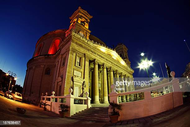 mosta dome, rotunda of st mary - night view - rotunda stock pictures, royalty-free photos & images